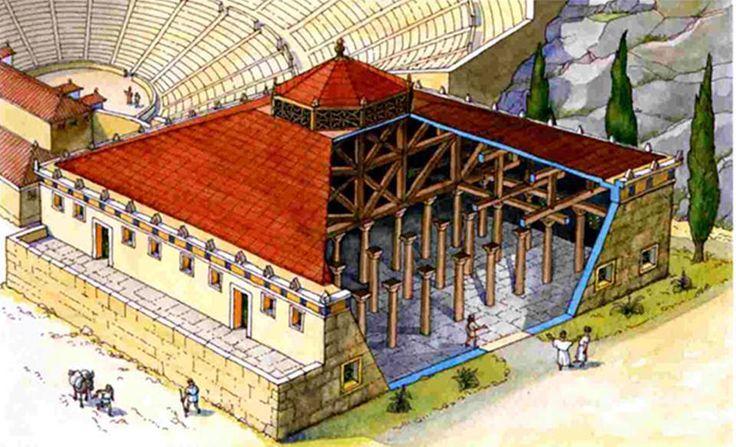 Ωδείον του Περικλέους (447 - 443/2 π.Χ.)  Το Ωδείον χτίστηκε μεταξύ των ετών 447 και 443/2 π.Χ. με πρωτοβουλία του Περικλέους και αποτέλεσε μέρος του οικοδομικού προγράμματος που ο ίδιος εφαρμόσε στην Αθήνα. Καταλαμβάνει χώρο στους νοτιοανατολικούς πρόποδες της Ακροπόλεως, στο ανατολικώτερο άκρο της Νότιας Κλιτύος του βράχου, ακριβώς δίπλα από το κοίλο του Διονυσιακού Θεάτρου, το οποίο μάλιστα περιόρισε σημαντικά στην ανατολική του πλευρά. Ήταν το πρώτο ωδείο της πόλης και προοριζόταν για να…