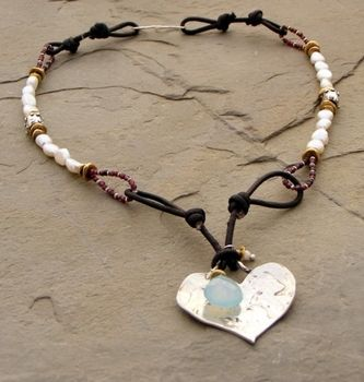 Artisan Heart and White Pearl Necklace