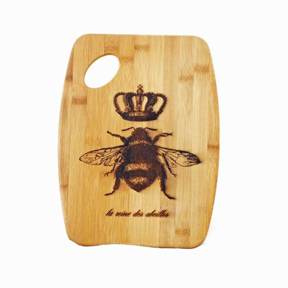 Queen Bee Cutting Board French Country Home Decor Engraved Eco Friendly Bamboo