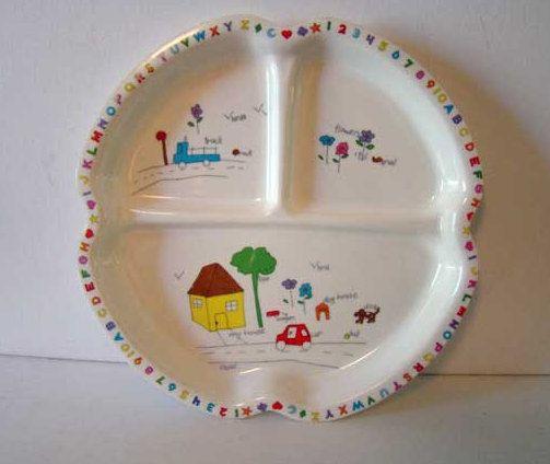 Vintage child\u0027s dish melamine ware dish children\u0027s dish child\u0027s plate plastic dish sectional dish kids ided plate & 35 best COLL Children\u0027s Melamine Ware images on Pinterest | Dish ...