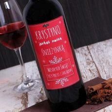 Personalizowane Czerwone Wino ŚNIEŻYNKA idealny na urodziny