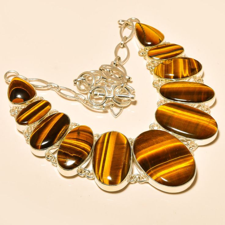 """Yellow Tiger'S Eye 925 Sterling Silver Jewelry Necklace 18"""" #Handmade #Choker"""