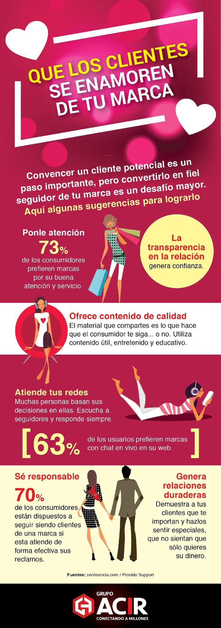 Cómo mantener a tus clientes enamorados de tu marca #infografia #infographic #marketing