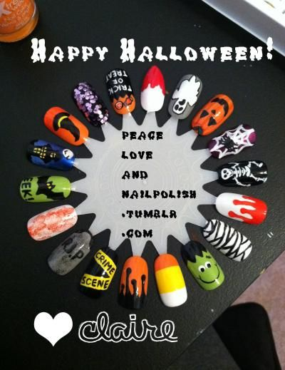 peaceloveandnailpolish:    It's almost time for Halloween ladies, are your nails ready? I did this wheel last night and finished it this afternoon, I'm pretty happy with it! I'm not going to list colors, but if you'd like to know what I used for a specific design please message me!  HAPPY HALLOWEEN! :)  ~Claire