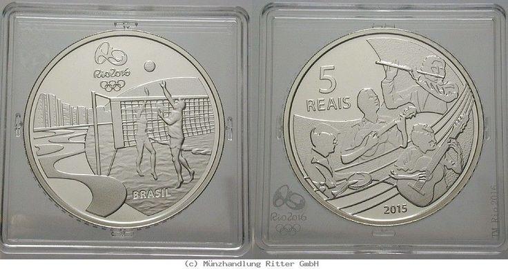 RITTER Brasilien, 5 Real 2015, Olympische Spiele Rio de Janeiro 2016, PP #coins #numismatics
