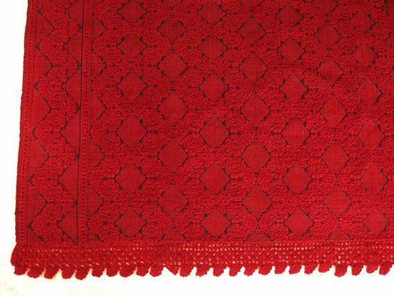 Vintage Kilim Bedspread with Red Roses & by VintageHomeStories