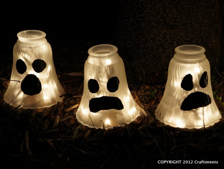 craftiments glass shade ghosts halloween yard decorations - Diy Halloween Yard Decorations