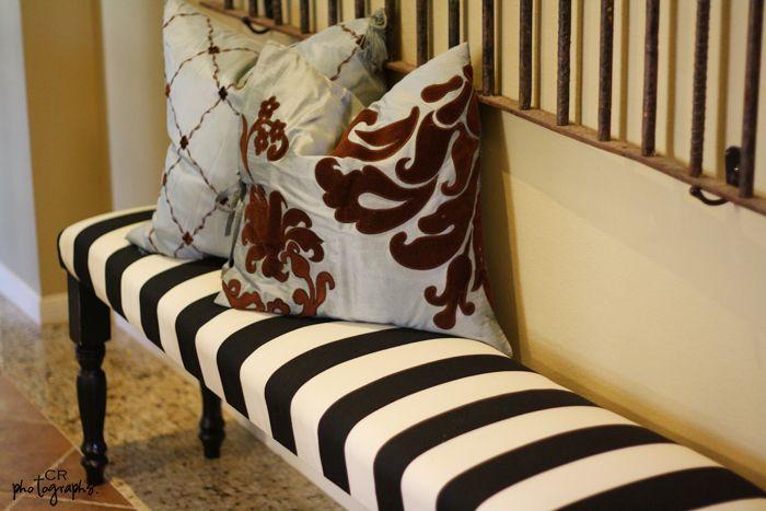 #DIY Striped bench…