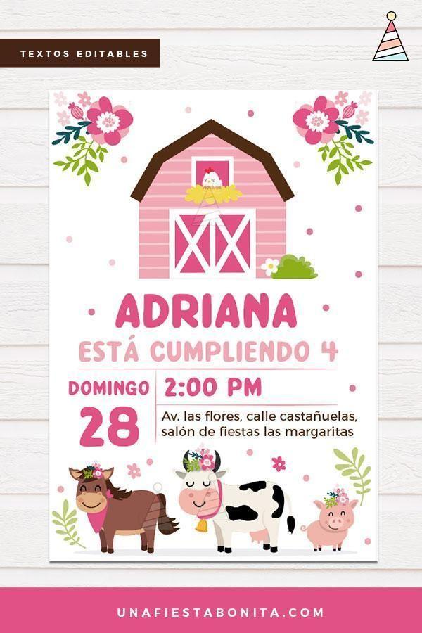 Invitación temática Granja para niña Imprimibles para fiestas Tarjetas de cumpleaños para