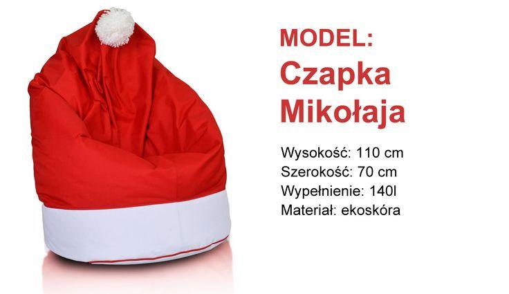 Pufa czapka mikołaja - idealna na mikołajkowy prezent!   #bożenarodzenie #święta #prezent #pufa #fotel #woreksako #mikołajki