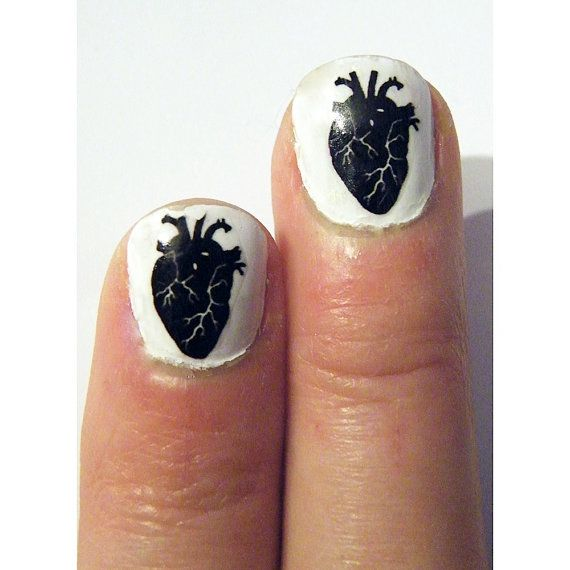 Gothic Steampunk Black Heart Nail Art Nails Men or by tempusfugit, $5.00