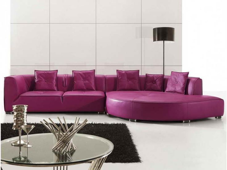 Purple Leather Sectional Sofas for Your Room with black carpet