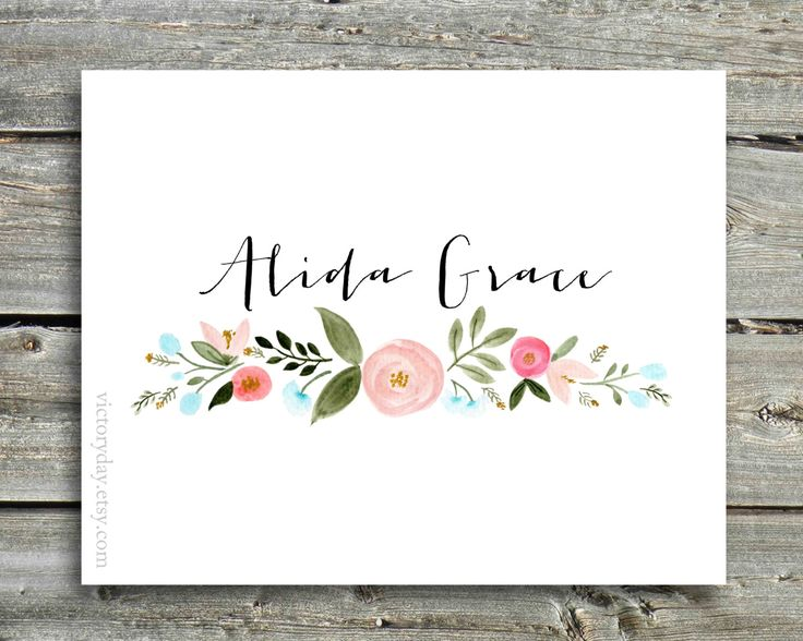 Custom Name print of watercolor wreath painting by VictoryDay