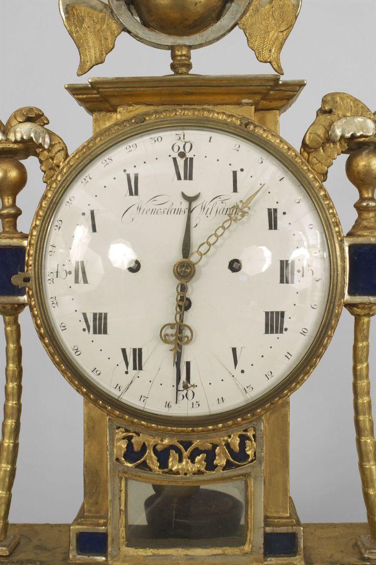 Continental Austrian (18th Cent) gilt wood and blue glass panel mantel clock with a pediment (signed: Wieneslaus Wilfarthm, Koniglicher Hoff, UHR Macher) (not working)