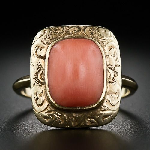 Victorian gold and coral ring, circa 1890. At Lang Antiques.