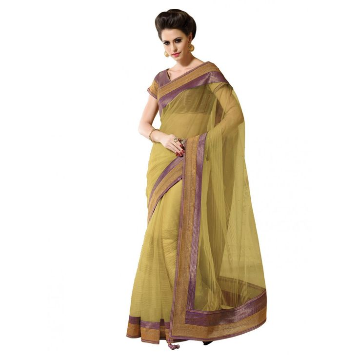 Musturd Net Designer #Saree With Blouse