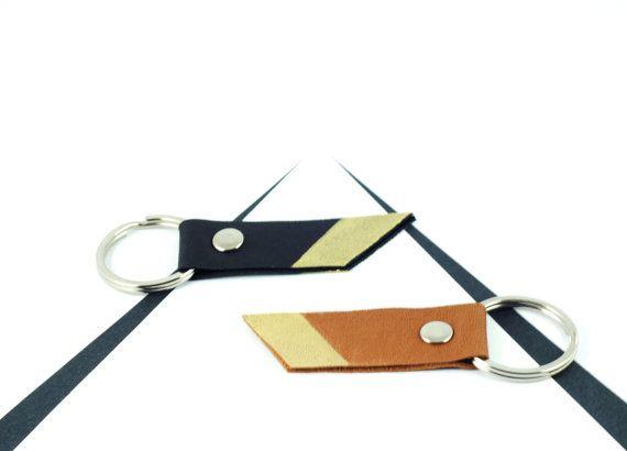 Recyceltem Leder Schlüsselanhänger in Kamel Tan mit von scandinazn