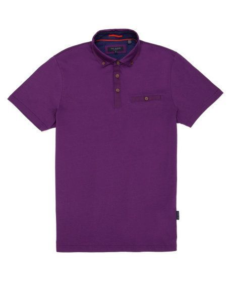 Jersey cotton polo - Purple   Tops & T-Shirts   Ted Baker