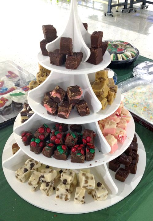 Fudge Display on our Holiday Tree Cupcake Tower: Holiday Tree Cupcake Tower as a Retail Bakery Display: http://www.thesmartbaker.com/products/4-Tier-Holiday-Tower.html