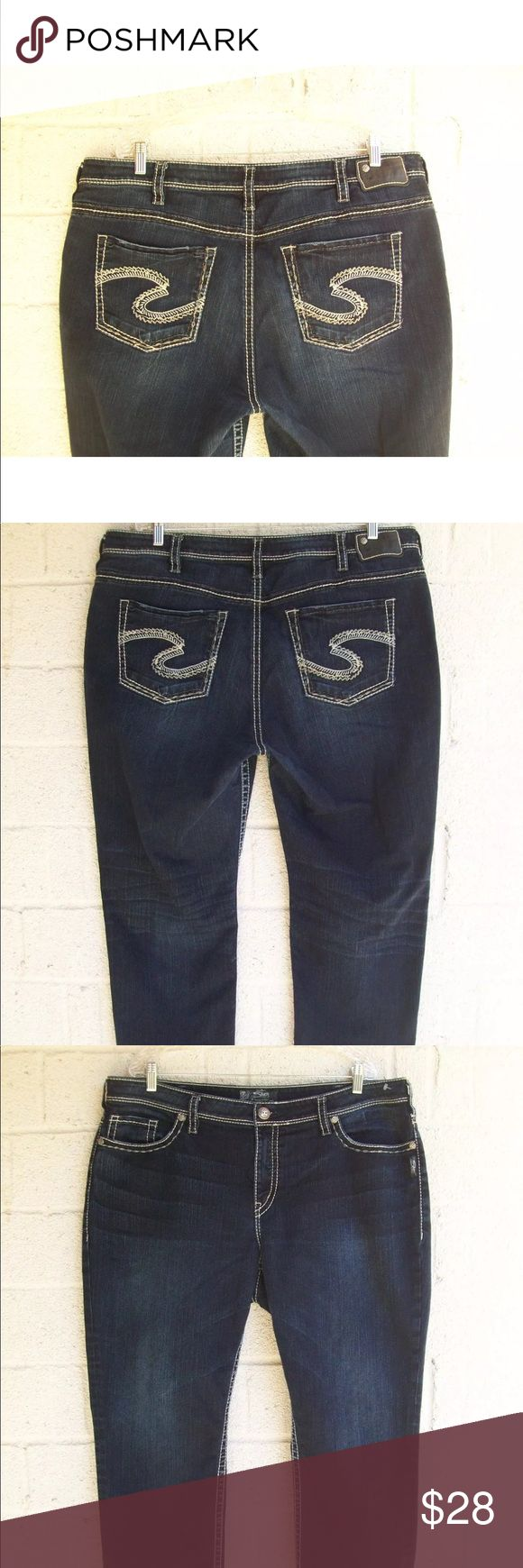 "Women's Silver Jeans plus size 22 Suki High Capri WOMEN'S SILVER JEANS, PRE OWNED IN EXCELLENT CONDITIONS, ORIGINAL SIZE 22, STYLE: SUKI HIGH CAPRI, STRETCH, ZIPPER FLY, 75% COTTON 25% POLYESTER, BLUE DENIM. ACTUAL WAIST LAYING FLAT 21"", FRONT RISE 11"", BACK RISE 19"", ACTUAL INSEAM 25"", LENGHT 37"". LEG OPENING AT THE BOTTOM 8"". Silver Jeans Jeans Ankle & Cropped"