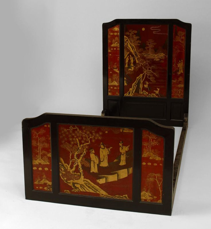 Pair of Asian Chinese style (19th Cent) black lacquered Chinoiserie design single size beds (headbd., footbd., rails)(Estate of Sally Young) Price $7,200.00