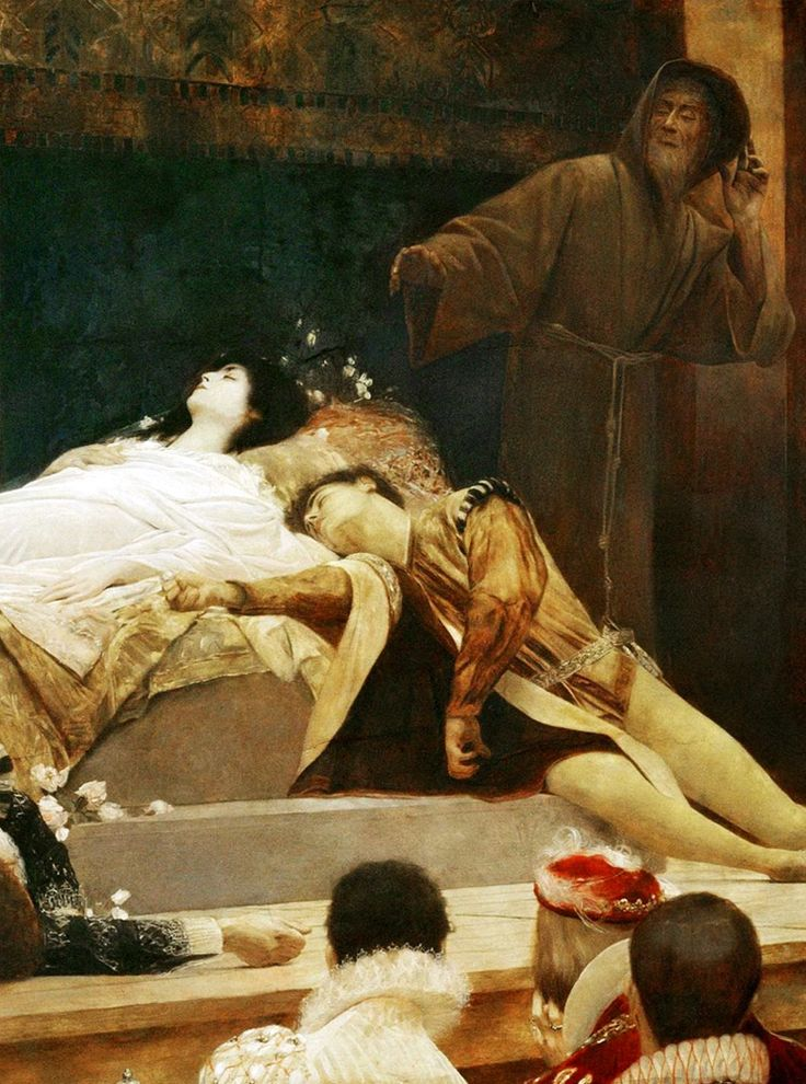 Gustav Klimt -The Death of Romeo and Juliet. Performance at Shakespeare's Globe Theater in London. (1884-87)