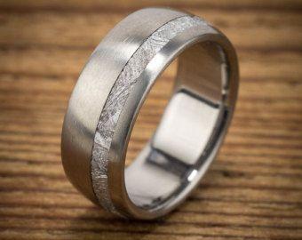 Titanium Wood Wedding Band Amboyna Men's Ring by spexton on Etsy
