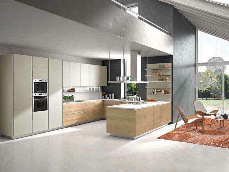 Small U Shaped Kitchen With Wall Shelves