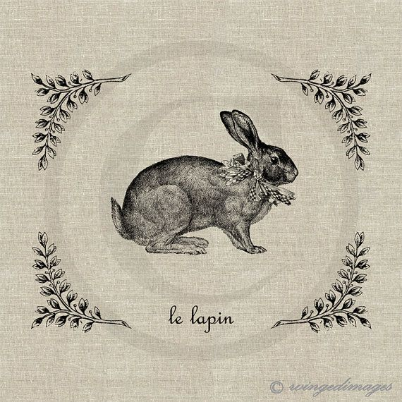 INSTANT DOWNLOAD Vintage French Rabbit Le Lapin Digital Image No.148 Iron-On Transfer to Fabric (burlap, linen) Paper Prints (cards, tags)