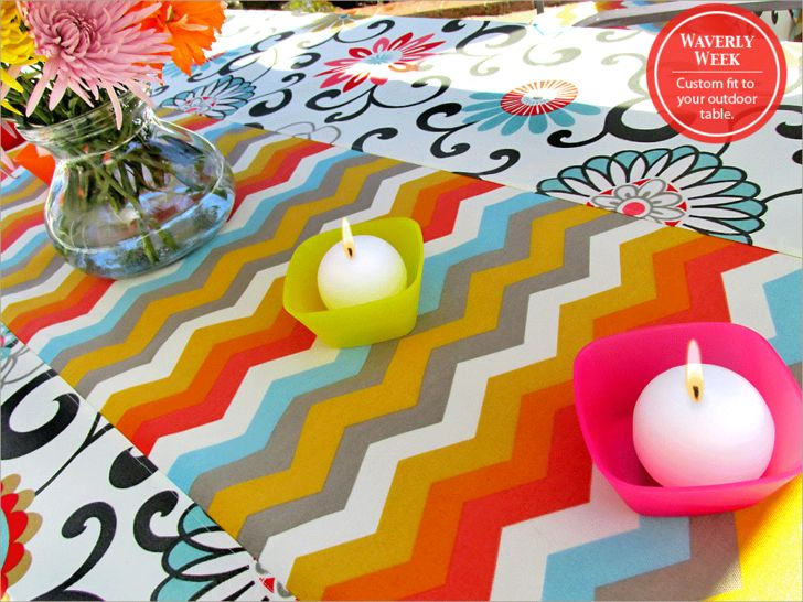 DIY outdoor tablecloth. A pretty tablecloth sets the stage for a festive outdoor gathering. Waverly Sun N Shade takes weather in stride.
