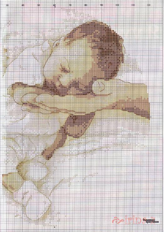 Sleeping baby cross stitch