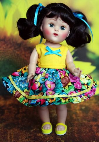 """*Sunflower Garden*..for Vogue Ginny, Muffie, or Madame Alexander Dolls that are 7.5"""" in size. One cute set available now on www.karmelapples.com Consists of: The dress and sweet bright bloomers Click the pix to purchase"""