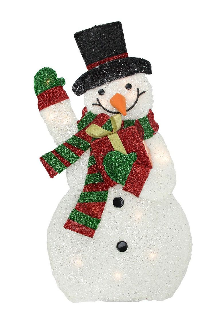 Lighted Plush Tinsel Waving Snowman with Gift