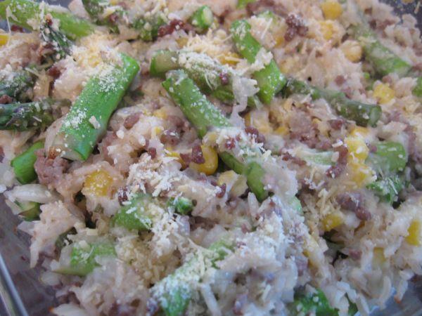 Caçarola de arroz com aspargo