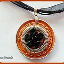Medaillonketten - NESPRESSO KETTE braun silber MEDAILLON KETTE KURZ - ein Designerstück von Renas-Jewels bei DaWanda
