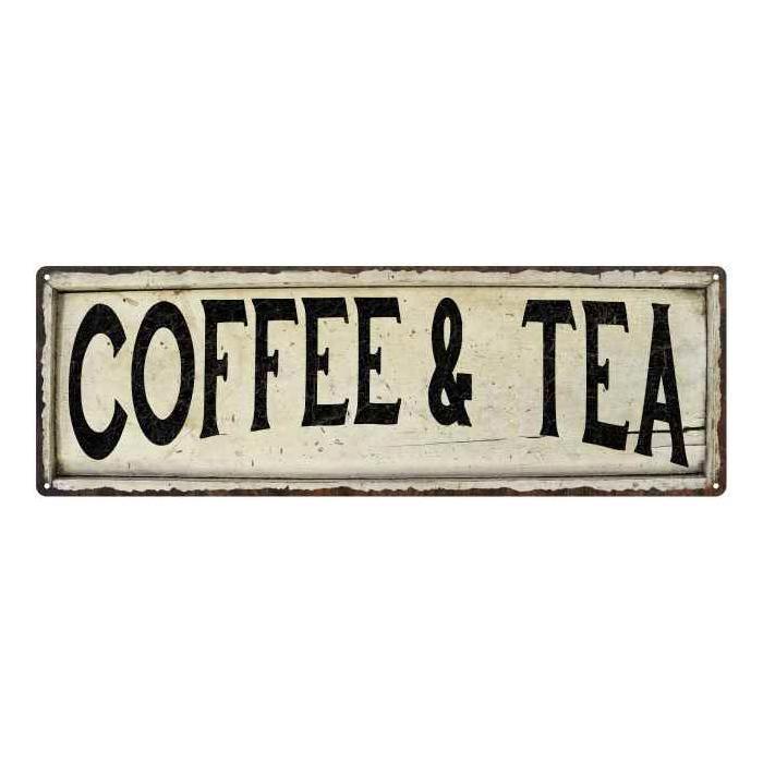 Coffee Tea Vintage Look Farm House Wall Decor Metal Sign