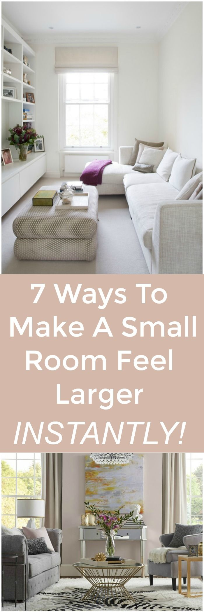 Are you living in a smaller home, condo or apartment? Feeling cramped in that small room you have? Learn 7 Ways To Make A Small Room Feel Larger Instantly! Create a feeling of brightness and visually expand your rooms with these design tips; by using lighting, mirrors and decor in strategic ways. Read my tips on how to banish that cramped , cave-like feeling and get the spaciousness you crave!