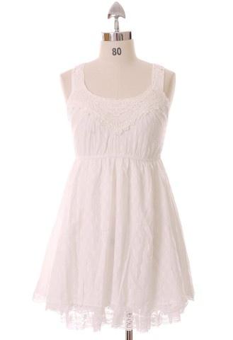 White Lace Bodice Dress #Chicwish