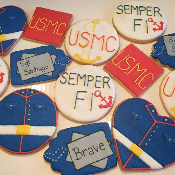 These handmade custom sugar cookies are a great gift for any special occasion for a Marine. Give them as party favors for graduation,