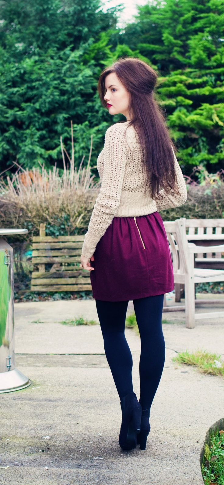 Stonor cardigan from Fyberspates Scrumptious collection. Topshop burgundy wool skirt and primark platform chelsea boots.