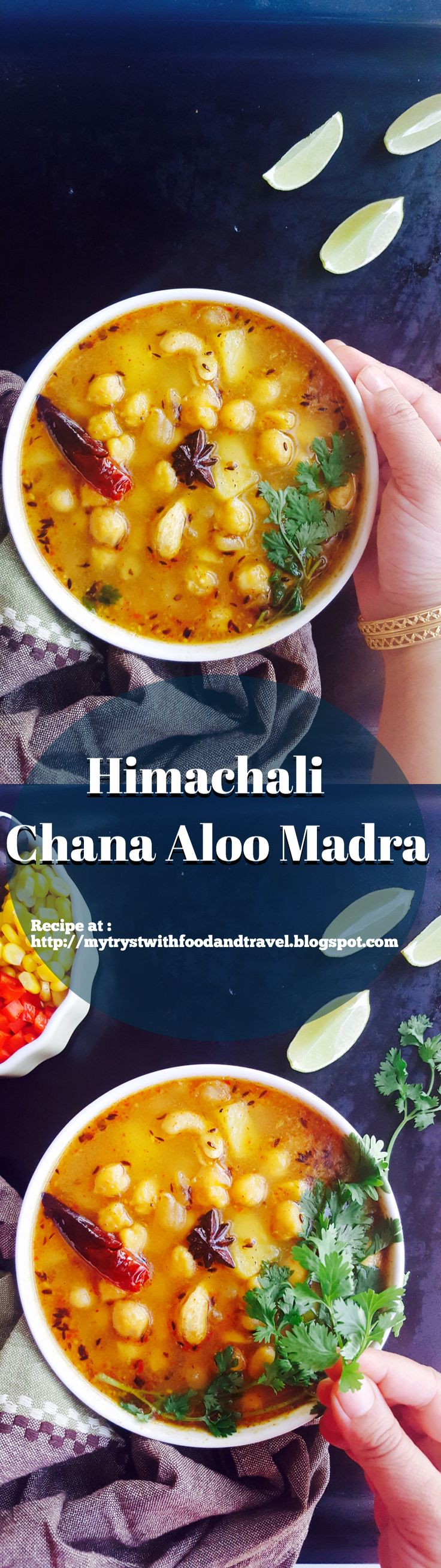 Himachali Chana Aloo Madra is that nouvelle dish. Slow cooked in a yogurt gravy and perfumed with spices, each flavour note caresses your taste buds distinctly. It is noteworthy, that unlike most Indian curries, this does not make use of onions, ginger, garlic or tomatoes as its base masala.