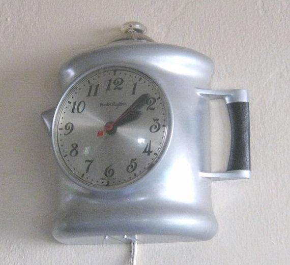 1950s Working Percolator Wall Clock / Coffee Pot Clock ...