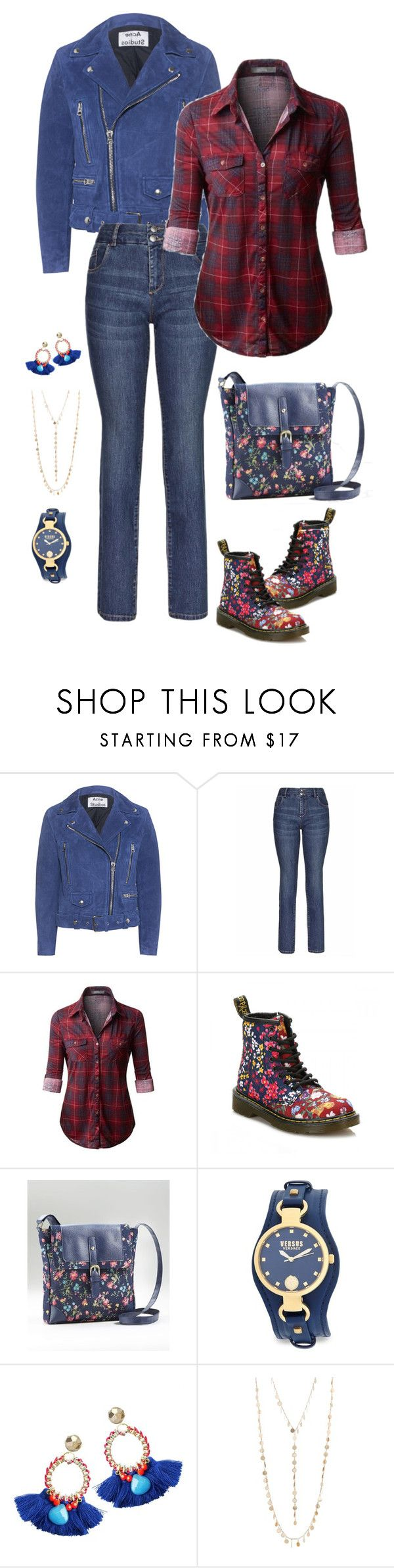 """""""Geen titel #481"""" by miriam-witte ❤ liked on Polyvore featuring Acne Studios, Dr. Martens, Versus and Natasha"""