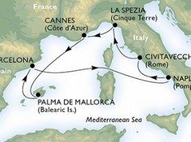 Civitavecchia - La Spezia - Cannes - Palma de Mallorca - Barcelona - Napoli - Civitavecchia