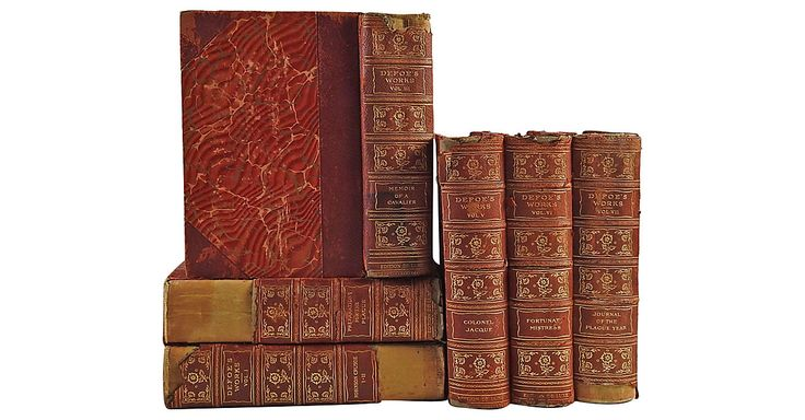 Works of Daniel Defoe, six volumes. De Luxe limited edition. Philadelphia: John D. Morris & Co, 1903. Leather spine with gilt titles, marbled decorative paper covers and end papers. Distressed with...