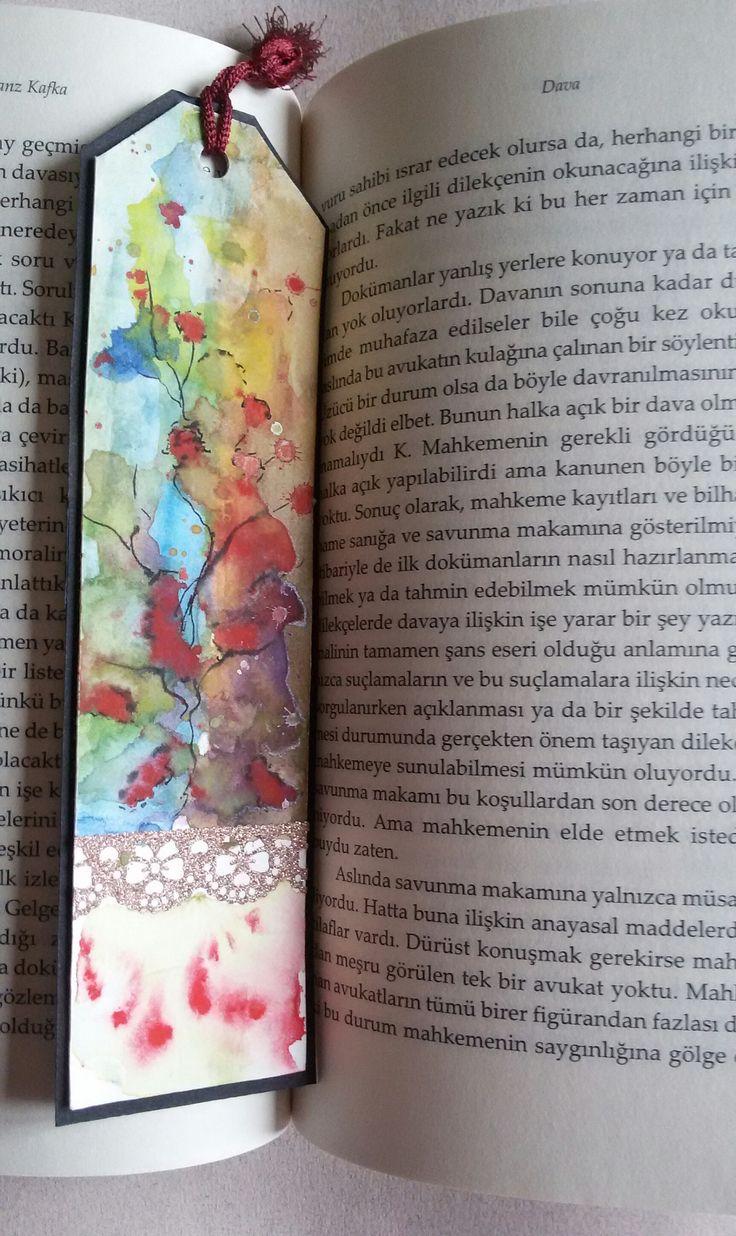 Watercolor bookmark patterns - Suluboya Kitap Ayrac Watercolor Original Handmade Bookmark