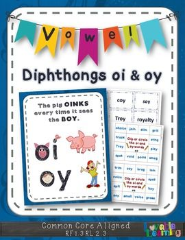 Have fun learning about vowel diphthongs oi & oy with a visually stimulating rules poster, 2 word sorts, 2 unscramble the word activities, 1 blank unscramble the word activity, 1 rhyming and cloze activity, 8 clip cards, 2 speed reads, a blank speed read, and a word search.