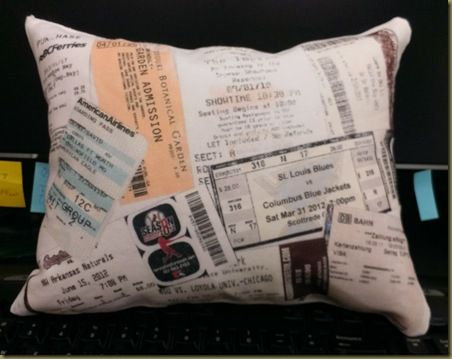 "Second ""Cotton"" Anniversary gift idea:  Pillow with a collage of ticket stubs printed on.  SUPER easy and really cute!"