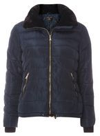 Womens Navy Faux Fur Collar Padded Coat- Blue