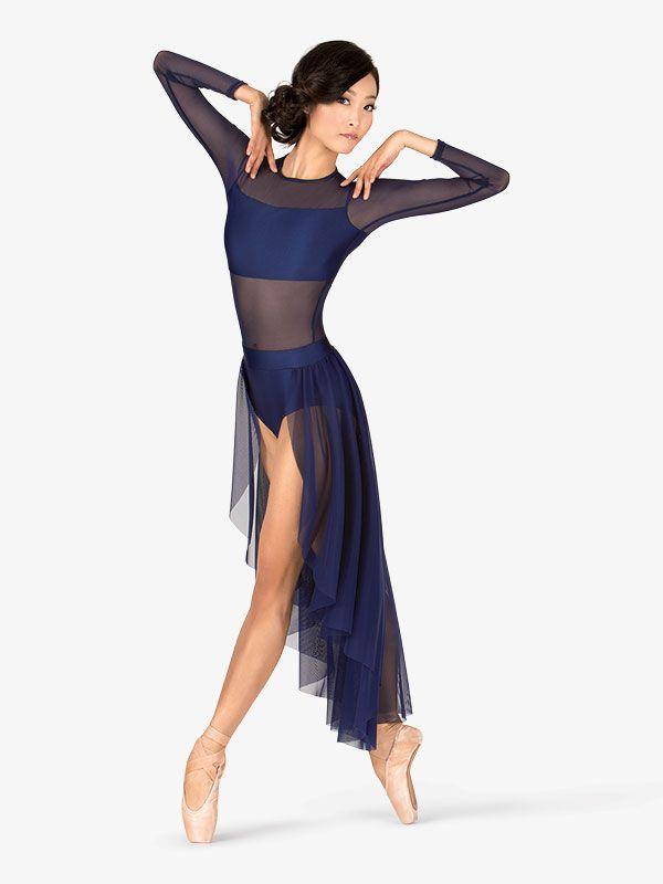 28e27cccf Long Sleeve High-Low Dance Performance Dress - Ballet/Lyrical | Double  Platinum N7316 | DiscountDance.com